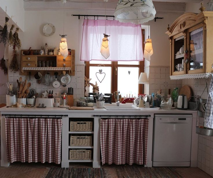 .country cottage wood white red kitchen