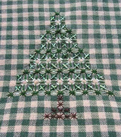"~ Hand Embroidery on Gingham - Christmas Trees ~Better known as ""Chicken Scratch""...."
