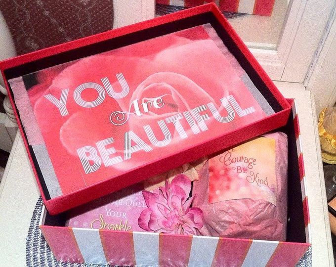 You Are Beautiful Boxes are care packages that aim to brighten her day with inspirational quotes, beauty products, tea cups, and colorful décor that aspire to lift your spirits and inspire you to see and be the beauty in the world.Many women today suffer from low self-esteem and positive thinking has been known to lead to a healthier lifestyle.  This is a perfect gift for girlfriends, daughters, nieces, mothers, sisters, grandmas and wives.  A valentines DELUXE YouAreBeautiful box comes…