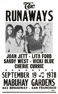 The Runaways gig poster (1978)  I HOUSE SAT FOR CHERIE -Not ME -comment by previous person?