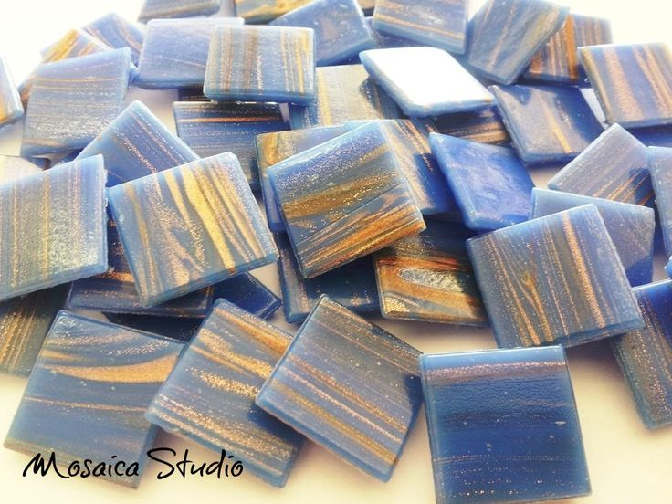 Wedgewood Blue Gold Thread Tiles 20x20x4mm x50pc by MosaicStudio1 on Etsy