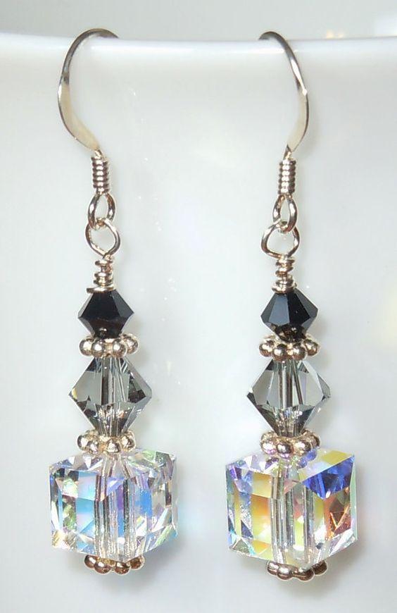 Swarovski Crystal Drop Earrings Shades of Gray by BestBuyDesigns, $13.00: