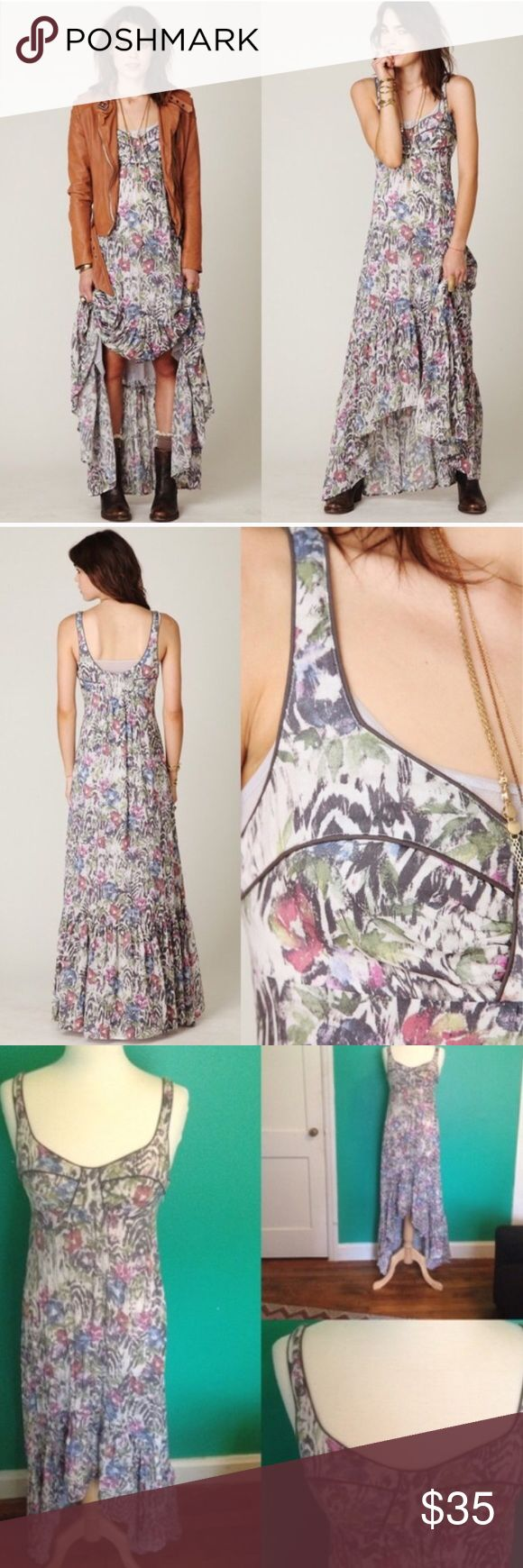 Free people hi low maxi dress Bias cut maxi dress with beautiful floral print and piping detailing on the bust. Smocking in the back. High low hem. Lightweight float fabric. Tag was removed but it is a size small. Zipper closure. Free People Dresses Maxi