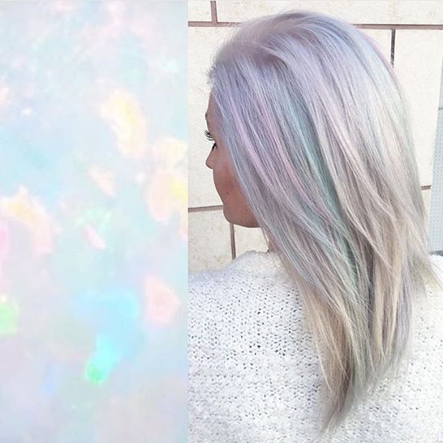 Opal luminosity by @rossmichaelssalon. #opalhair #pastelhair