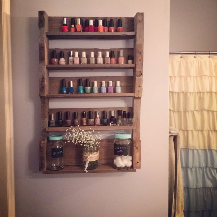 Wooden pallet project nail polish shelves my completed for Nail polish diy projects