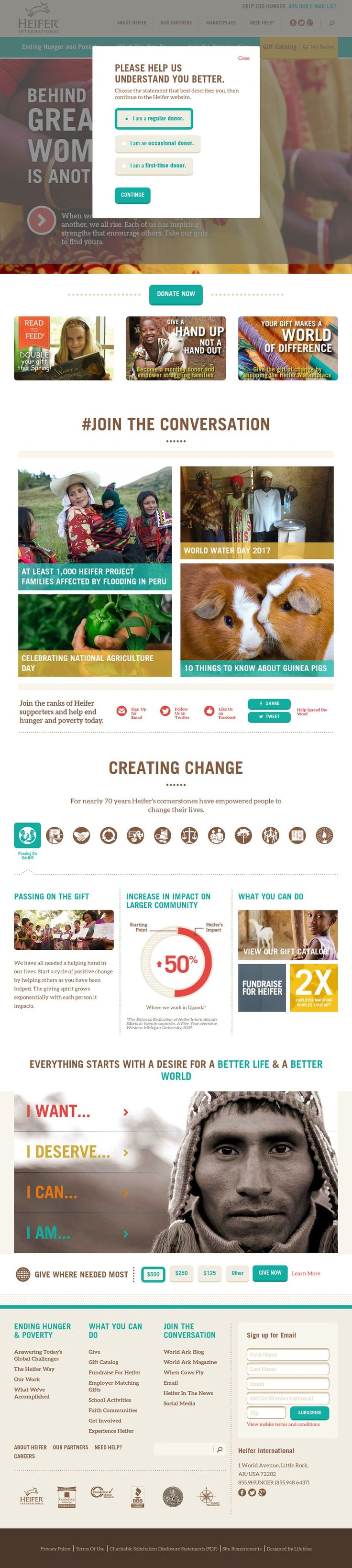 Screenshot of the www.heifer.org homepage by Snapito