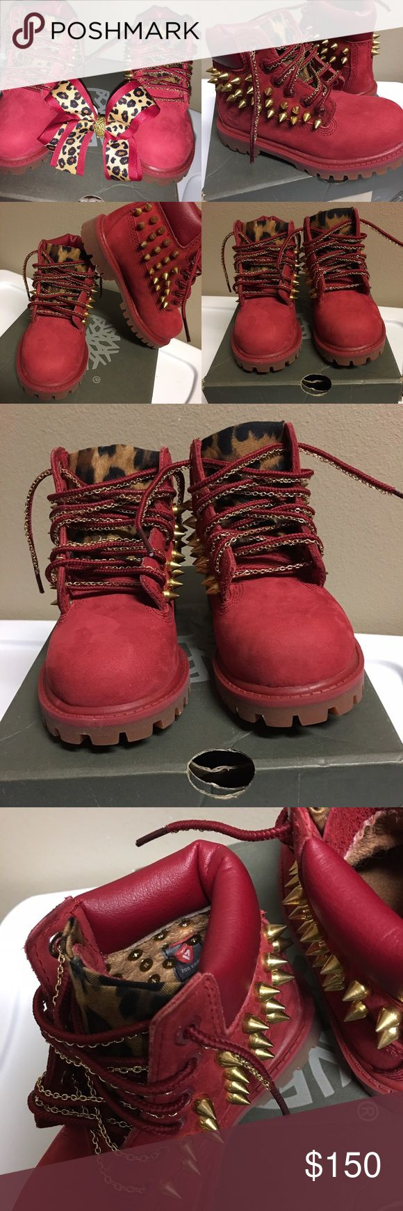 Timberland boots Red...size 9 toddler boot. Individually screwed in spikes. Leopard print tongue. Laces traced in chains with matching bow (5in) Timberland Shoes Boots