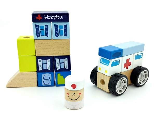 completed construction set with ambulance, hospital, and doctor figure