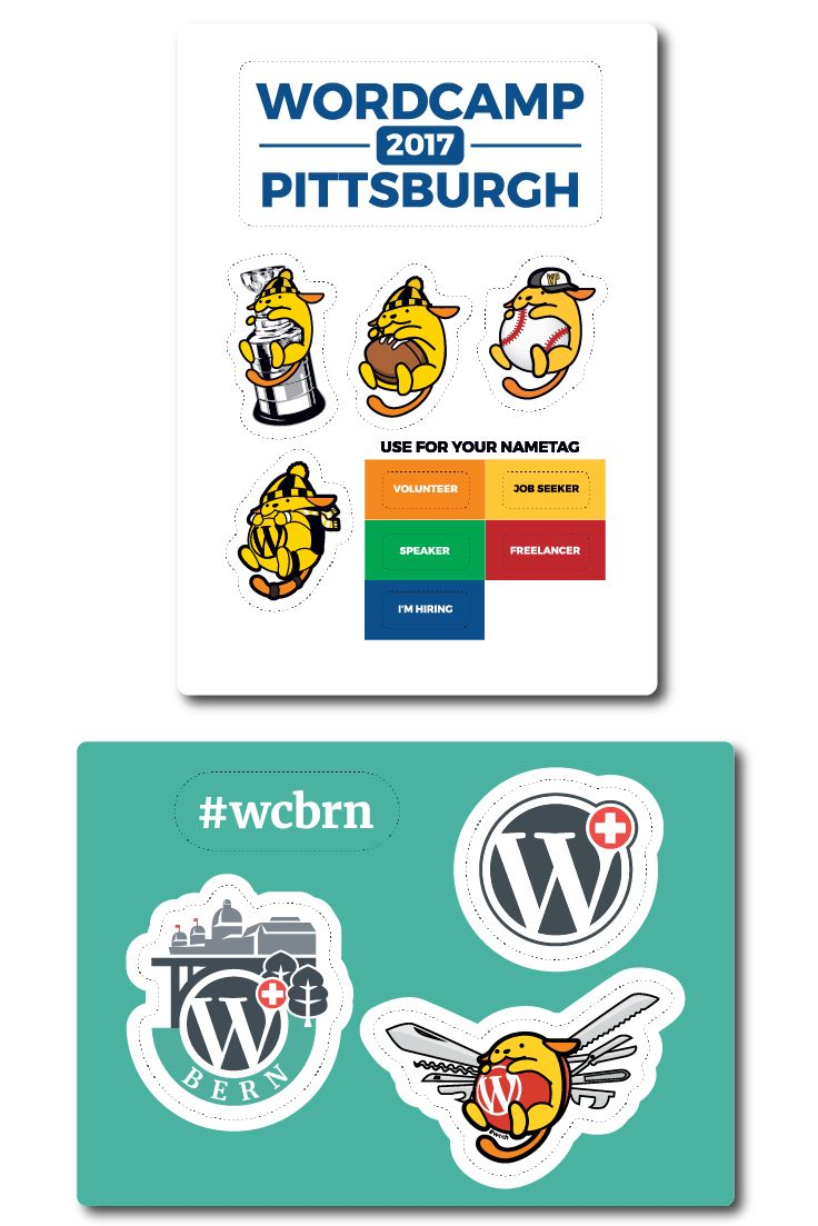 With the weekend coming up, we're talking sponsorships today, and WordCamp is our featured organization. When you're talking WordPress and stickers, you know that there is a sticker sheet and the possibility of an appearance from Wapuu, every WordPressers favorite mascot.  For this edition, we'll find Wapuu at WordCamp Pittsburgh donning some locally inspired sporting garb and trophy hardware in advance of the after party, and at WordCamp Bern Wapuu has transformed into a Swiss army knife.