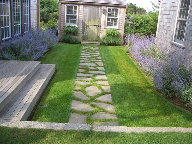 Irregular stone path with Russian Sage