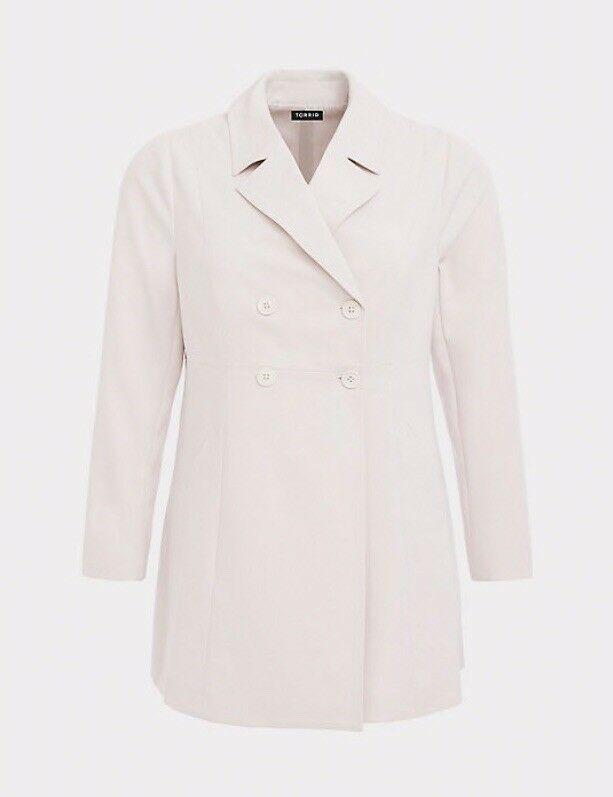 dea2e637b51 Torrid Womens Plus 3X 22 24 Cream Grey Gray Crepe Trench Coat  fashion