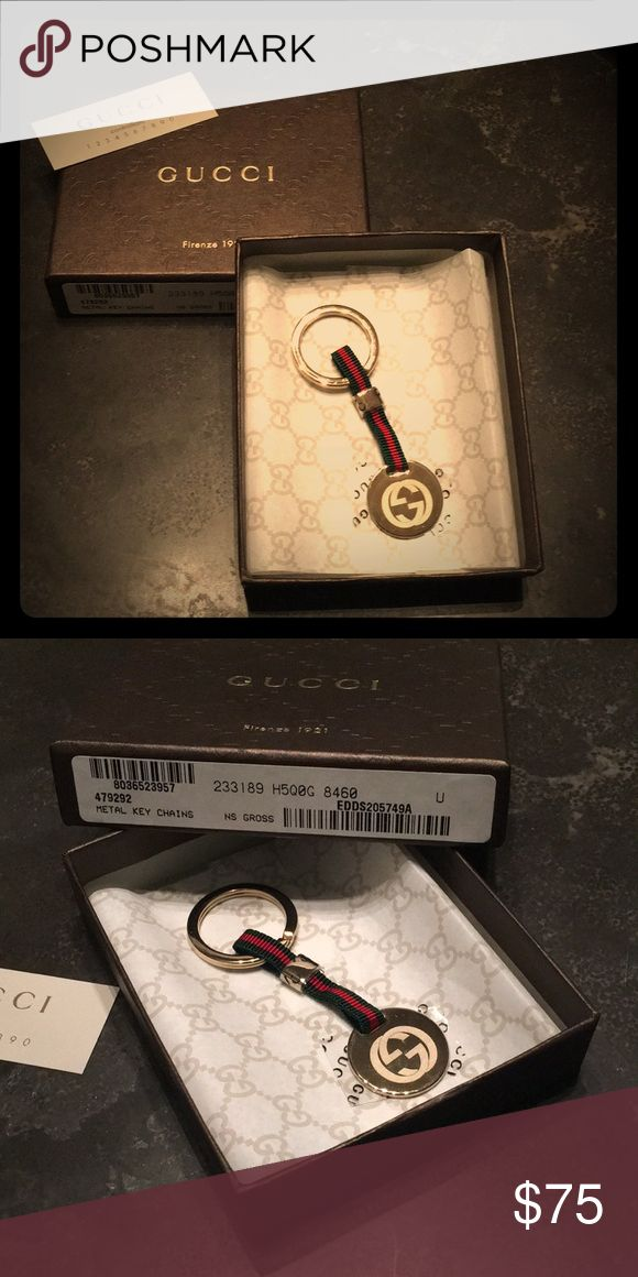 Gucci Key Chain Double GG metal and grosgrain red and green ribbon key ring. Gucci Accessories Key & Card Holders