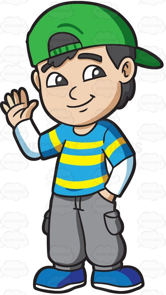 A Boy Greeting His Friends Cartoon Clipart Vector
