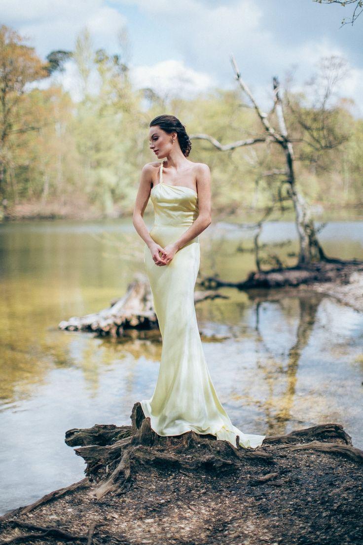 Delphinium Evening Dress - Organic silk dress with a dramatic train and asymmetric neckline by award-winning bridal designer Sanyukta Shrestha