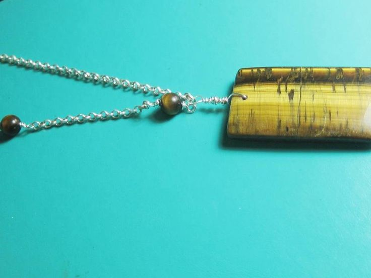 Tigers Eye Rectangle Brown Stone  Chakra necklace One of a kind