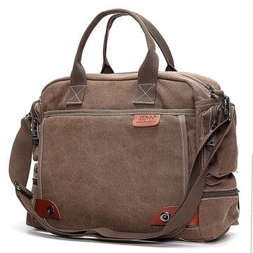 Mens Retro Canvas 14 inch Laptop Bag Casual Multifunctional Crossbody Bag Handbag