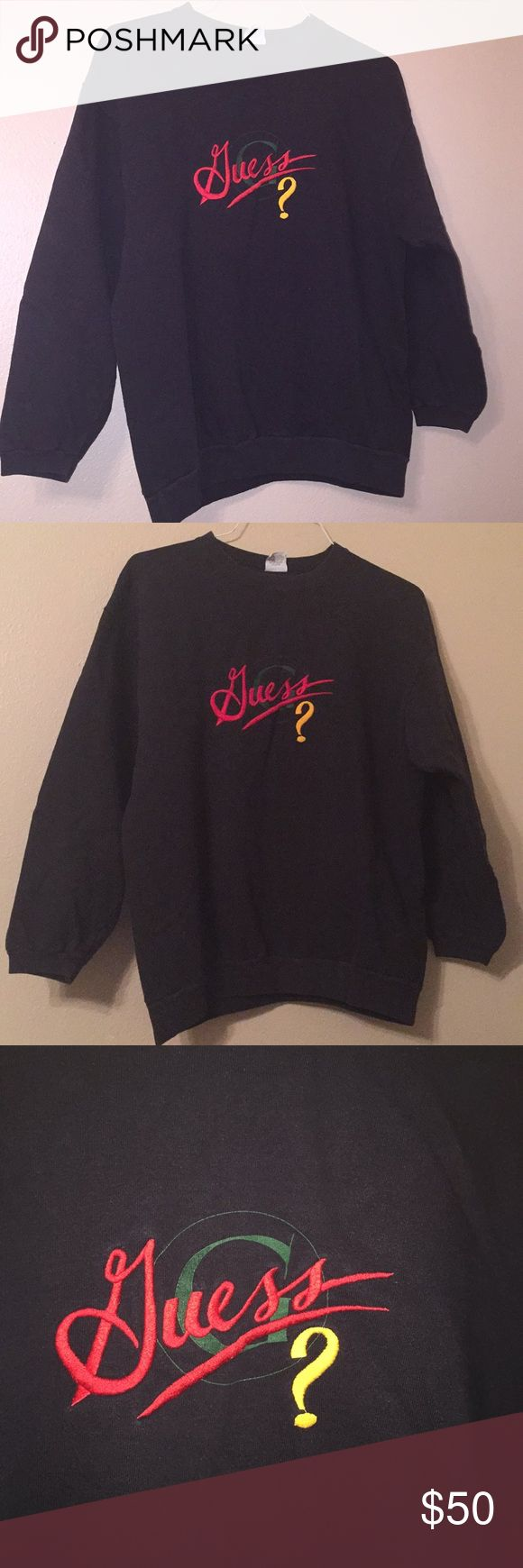 """90s GUESS JEANS sweatshirt one size fits all retro 🔥price firm🔥super rare in great condition (normal fading no stains or holes). 90s vintage GUESS jeans sweatshirt with embroidered G and Guess spell out logo on chest. Black with red green yellow. Tag SZ is """"one size"""" fits like a men's medium, possibly a large. I am a women's small and it fits great as an oversized sweatshirt not too big at all. the sleeves fit fine for me but I am a female so sleeves may be short for a male they measure 19…"""