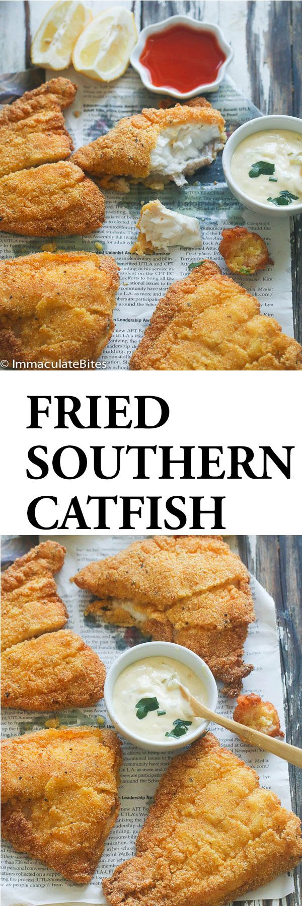 Southern Fried Cat Fish- Classic Southern Fried Catfish dipped in buttermilk and breaded in spicy seasoned cornmeal and fried to perfection. Fried cat fish conjures thoughts of finger-licking goodness and crispy crunch in every bite. When I bought these fish fillets at the market my intention was to bake them with garlic and salt.But I would not stop thinking about …