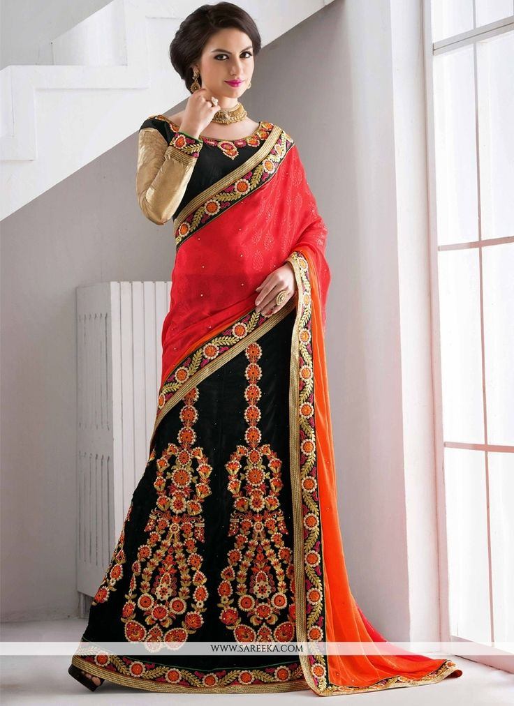 An fantastic black net and jacquard lehenga saree will make you appear very stylish and graceful. The ethnic embroidered, resham and zari work to the attire adds a sign of attractiveness statement wit...
