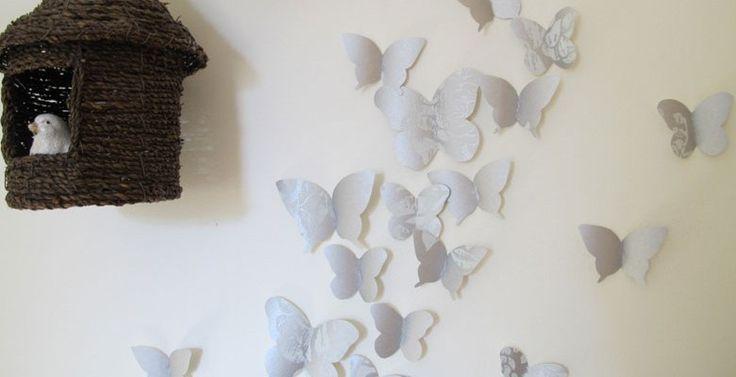 Vlinderdecoratie met restjes behangpapier