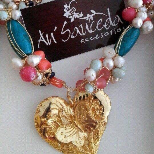 collar engarzado en chapa de oro k turquesa jade gatha cristal hecho a mano joyera fina