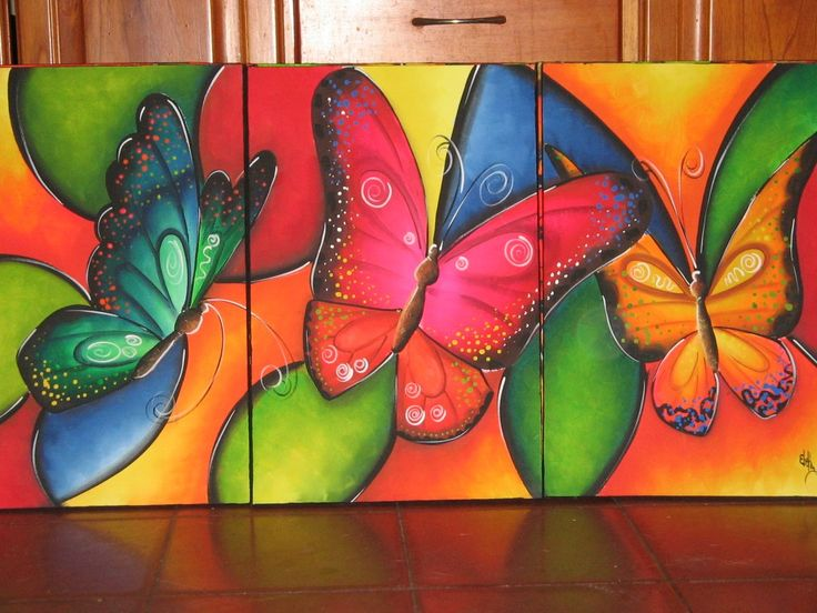 Mariposas coloridas bellas pinturas que me encantan pinterest 10 tela and pintura - Como pintar cuadros faciles ...