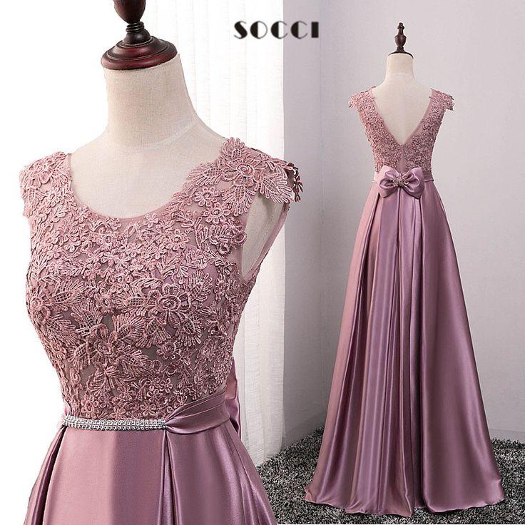 長い紫色のサテンレースイブニングドレス2016母の花嫁ドレスレッドクリスタルサッシvestidoデ·フェスタvバック弓パーティーガウン