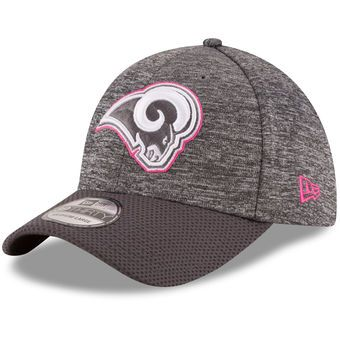 Youth Los Angeles Rams New Era Heather Gray Breast Cancer Awareness Sideline 39THIRTY Flex Hat