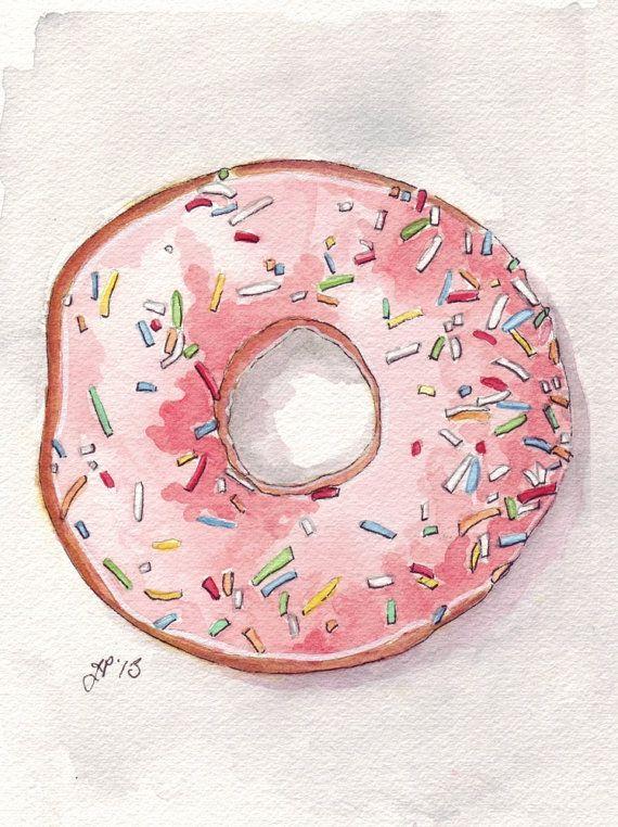 Donut Rosa acuarela Print, donut con glaseado Rosa y Sprinkles desde arriba, impresión 5 x 7