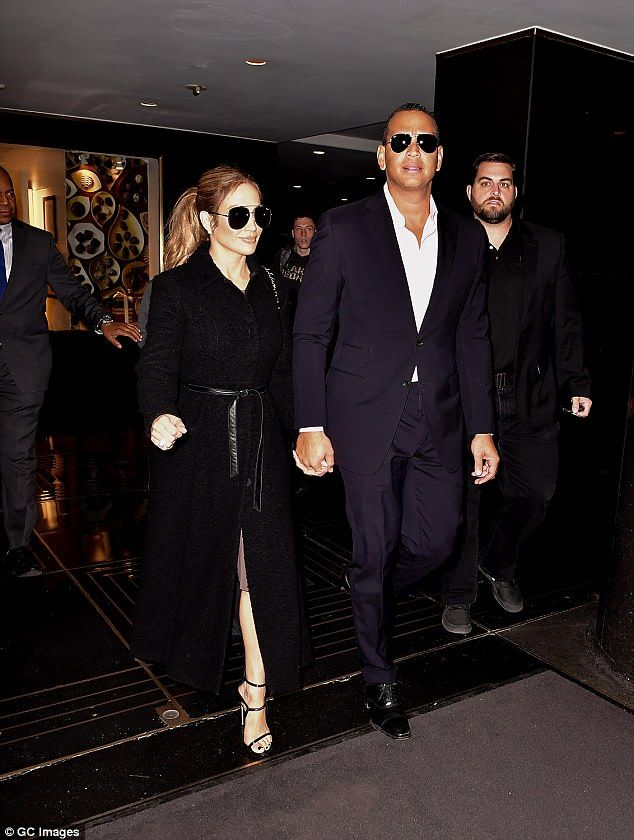 Taking the lead: While appearing serious, A-Rod gallantly led the way, navigating J.Lo through the streets of New York, as they walked hand-in-hand