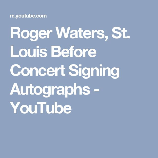 Roger Waters, St. Louis Before Concert Signing Autographs - YouTube