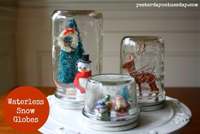 Waterless Snow Globes #snowglobes #christmasdecor #christmascrafts #yesterdayontuesday