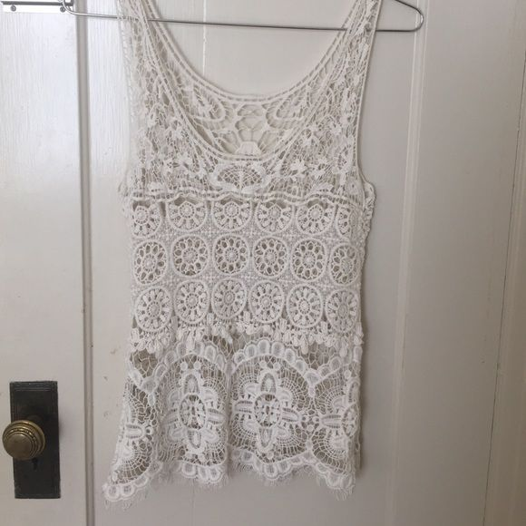 Lace Tank Lace tank! Size S, this tank is slightly loose fitting and a longer length than many other lace tanks! Tops Tank Tops