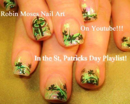 HAPPY ST. PATRICKS DAY!!! https://www.youtube.com/watch?v=NY4fbwmIrkw&index=1&list=PL0bCY3rbmmHrMG6UZJH56Hlq6WH27ku1- #nail #art #stpatricksday #stpaddysday #green #irish #nails #design #tutorial #gallery #robin moses #howto #diy #nailart #designs #shamrocks #leprechaun #clovers #pastel #spring #trends #celtic #cross
