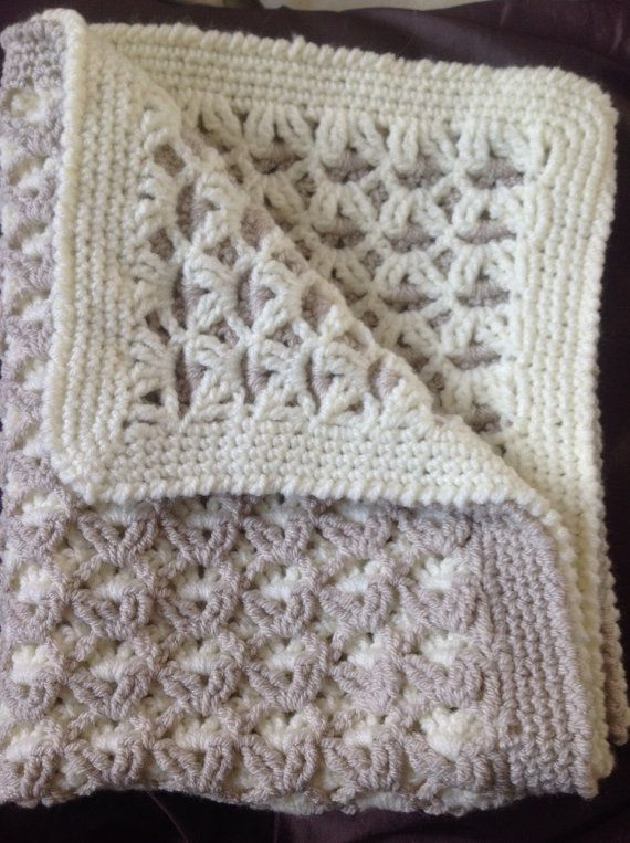 Cream and Beige Reversible Crocheted Baby / by DaisydropDreams, £8.00