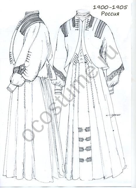 Женское платье для прогулок и путешествий из сукна. Россия, 1900 - 1905 годы