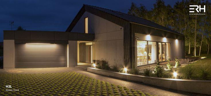 House H3L in Kłodawa, Poland #architecture #design #modernarchitecture #dreamhome #home #house #passivehouse #energysavinghouse  #modernhome #modernhouse #moderndesign #homedesign #modularhouse #homesweethome #scandinavian #scandinaviandesign #lifestyle #garrage #nature #evening # lighting #houselighting #garden #ecoreadyhouse #erh