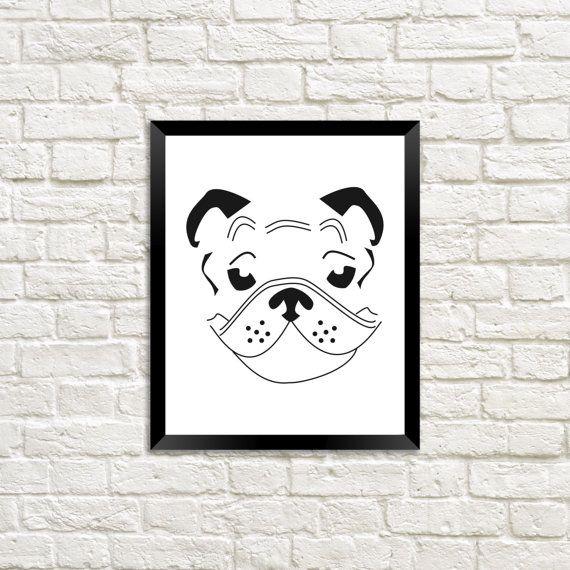 English Bulldog Fashion Print/ Wall Art by BlankSpacePrintsCA