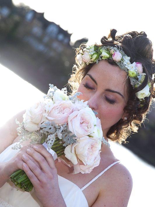 Bouquet de mariée rose pastel, couronne de mariée rose pastel