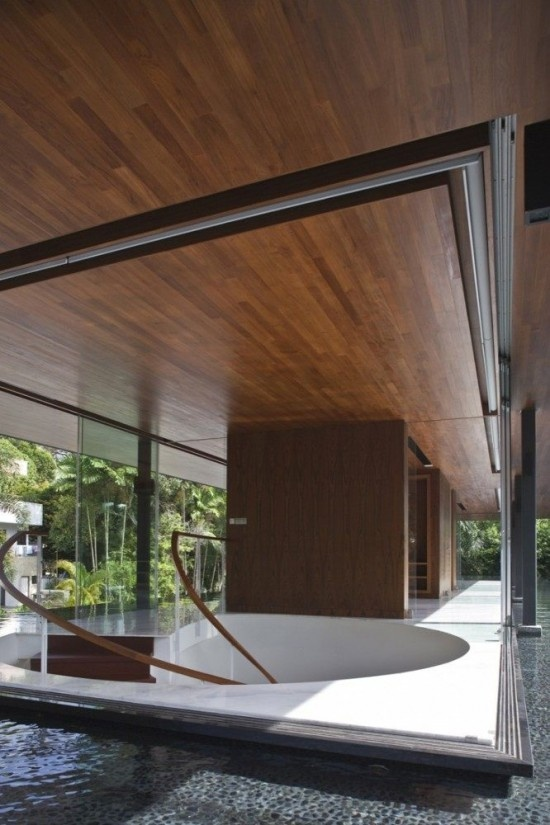 pond, services core, open studio, glass, floating roof/floor