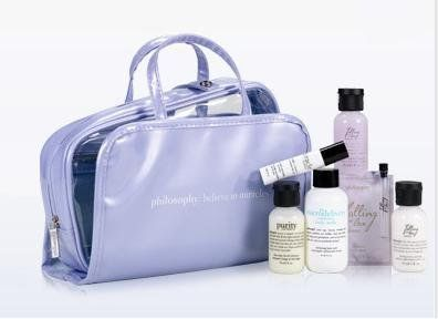 NEW Summer 2012 ! PHILOSOPHY :BELIEVE IN MIRACLES Skin Care Gift Set: 6 Pieces Skin care +Cosmetics Bag by Philosophy. $41.99. Purity facial cleanser (1 oz.). 3 items from the falling in love summer collection, firming body emulsion (1 oz.), shampoo, bath & shower gel (1 oz.). a perfume sampler (0.05 oz), also a cute lavendar travel bag.. Miracle Worker Eye Cream (0.1 oz). Microdelivery exfoliating body wash (2 oz.). 6 piece set