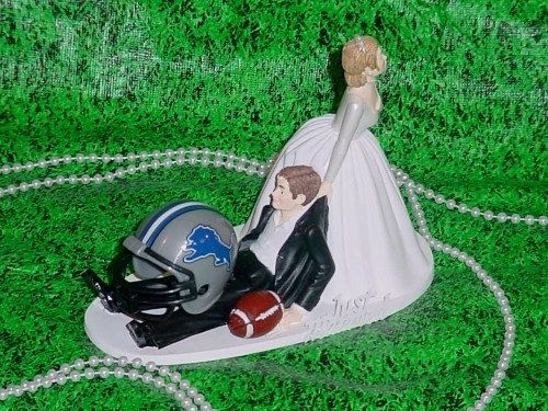 NFL Sports Fan Detroit Lions Football Groom Funny Wedding Cake Topper  | WeddingDynasty - Wedding on ArtFire