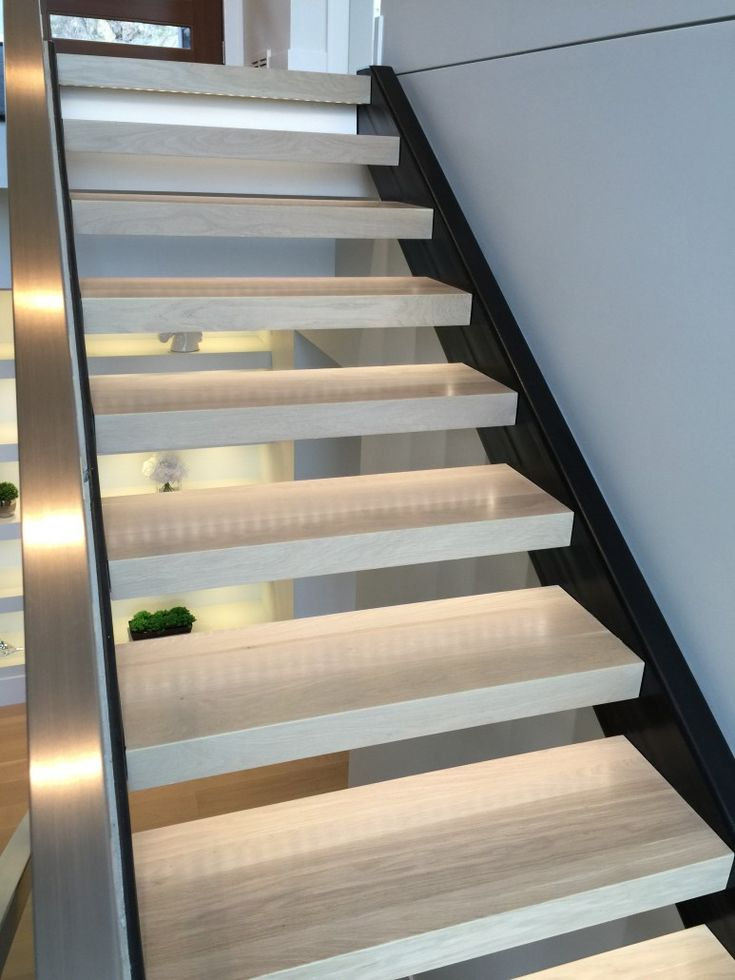 Wide Plank Hardwood   White Oak Stairs with LED Lighting