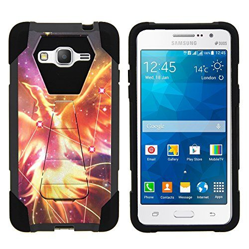 Buy Samsung Grand Prime Case, Dual Layer Shell SHOCK Impact Kickstand Case with Unique Graphic Images for Samsung Galaxy Grand Prime SM-G530 by MINITURTLE - Phoenix Bird Constellation Stars NEW for 10.99 USD | Reusell