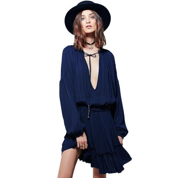 Boho Deep V-neckline Ruffled Hem Dress Material: Cotton,Rayon Style: Bohemian Silhouette: Loose Pattern Type: Solid Sleeve Length: Full Dresses Length: Above Knee, Mini Neckline: V-Neck Waist: elastic