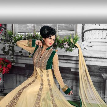 Beige Net Abaya Style Readymade Churidar Kameez