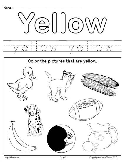 FREE Color Yellow Worksheet Color worksheets for
