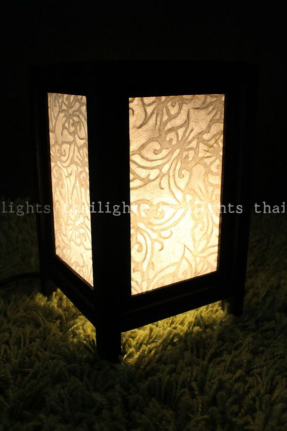 Table Asian Lamp White Mulberry Paper Butterfly Pattern With Wooden Lamp Frame - Furniture Home Decor on Etsy, $12.99