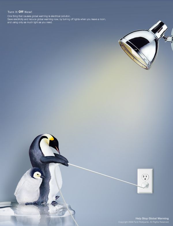 RACHEL CROSS - This advert is to help stop global warming and it is effective because it uses the technique of emotion and taps into our need to nurture. It's saying that if you stop using electricity you will stop global warming which will save the cute, fluffy, penguins!!