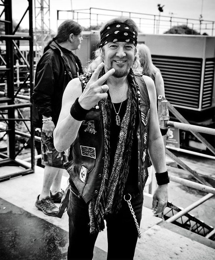 The Legend, Adrian Smith of Iron Maiden backstage during the current BOOK OF SOULS TOUR wearing his custom FSLA Watch You Bleed Leather Vest handmade by Cody Varona.